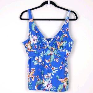 Jantzen Blue Tropical swimsuit top size 38D/DD